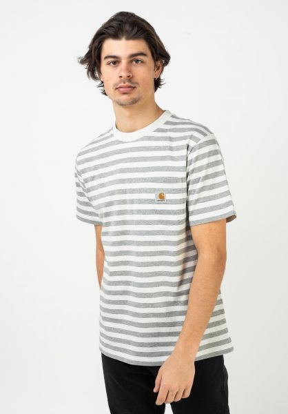 Carhartt WIP T-Shirts Scotty Pocket scottystripe-whiteheather-greyheather vorderansicht 0321204