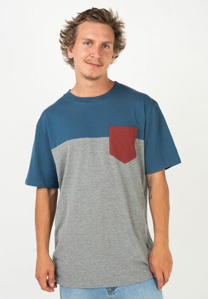 TITUS T-Shirts Colourblock Pocket stellar-greymottled-red-ochre vorderansicht 0398349