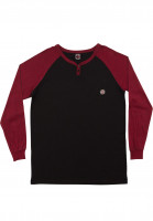 Independent-Longsleeves-Crush-Henley-Raglan-black-burgundy-Vorderansicht