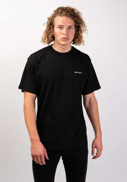 Carhartt WIP T-Shirts Script Embroidery black-white vorderansicht 0320063