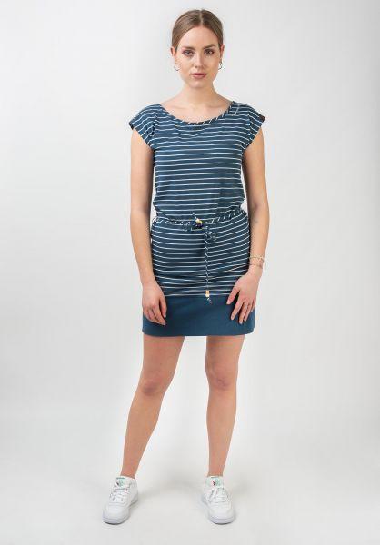 Ragwear Kleider Soho Stripes denimblue vorderansicht 0801513