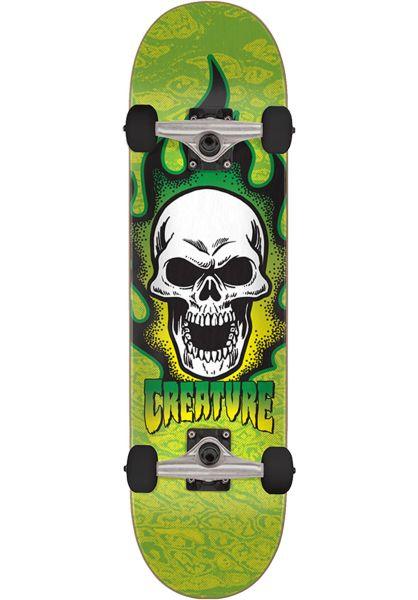 Creature Skateboard komplett Bonehead Slider green vorderansicht 0162021