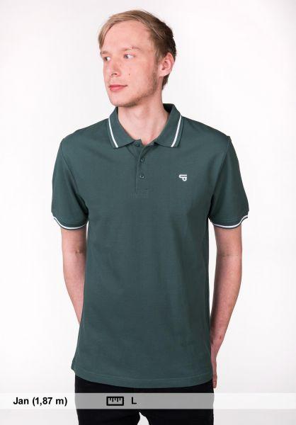 TITUS Polo-Shirts Johann bottlegreen-white Rueckenansicht