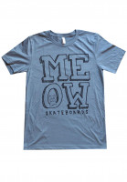Meow Skateboards T-Shirts Stacked Logo heather slate Vorderansicht