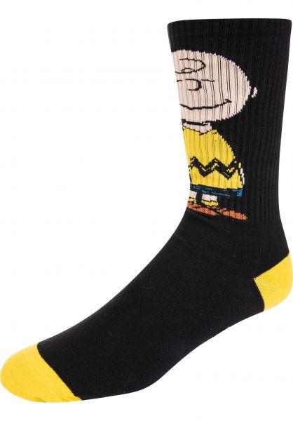 HUF Socken x Peanuts Charlie Brown Crew black Vorderansicht 0631596