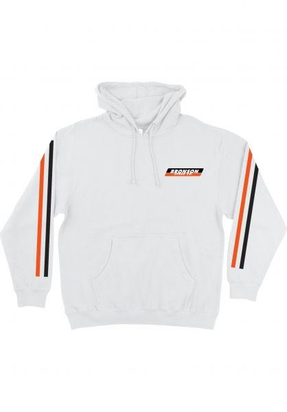 Bronson Speed Co. Hoodies Racing Stripes white Vorderansicht