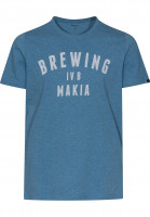 Makia-T-Shirts-Brewing-blue-melange-Vorderansicht