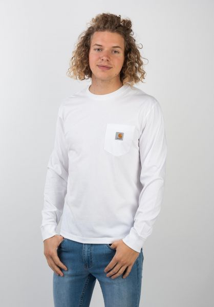 Carhartt WIP Longsleeves Pocket white vorderansicht 0382471