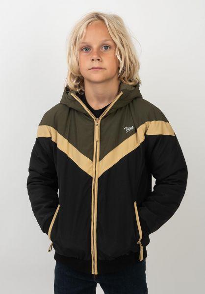 TITUS Winterjacken Bruce Kids black-khaki-almondbuff vorderansicht 0250052
