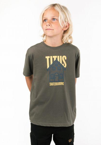 TITUS T-Shirts Lodge Kids olive vorderansicht 0397473