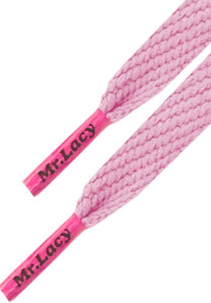 Mr. Lacy Schnürsenkel Flatties Colored Tips babypink-neonpink vorderansicht 0640015
