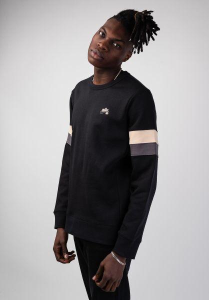 Nike SB Sweatshirts und Pullover SB Icon  Crew Striped black-desertore-grey vorderansicht 0422730