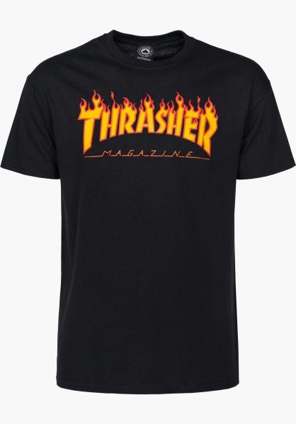 Thrasher T-Shirts Flame black vorderansicht 0036093