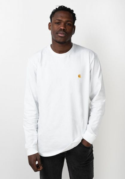 Carhartt WIP Longsleeves Chase Longsleeve white-gold vorderansicht 0382873