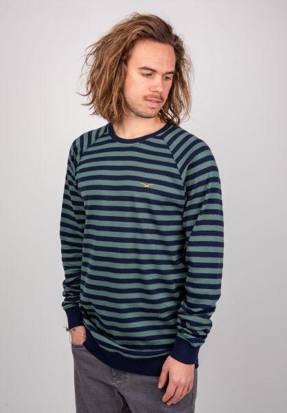 Cleptomanicx Sweatshirts und Pullover Classic Stripe bottlegreen vorderansicht 0422662
