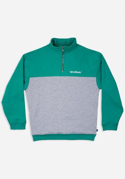 Goodbois Sweatshirts und Pullover Official Block Half Zip aquagreen vorderansicht 0423281