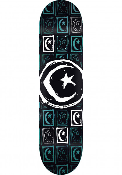 Foundation Skateboard Decks Star & Moon Sq. Repeat black Vorderansicht