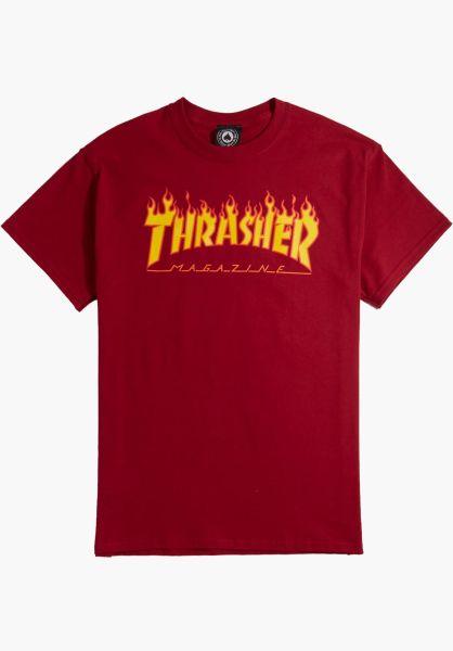 Thrasher T-Shirts Flame cardinalred vorderansicht 0036093