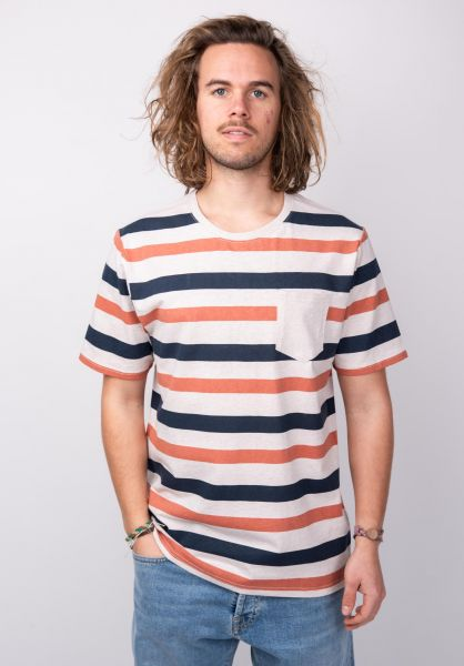 Rules T-Shirts Janne navy-orange-striped vorderansicht 0398505