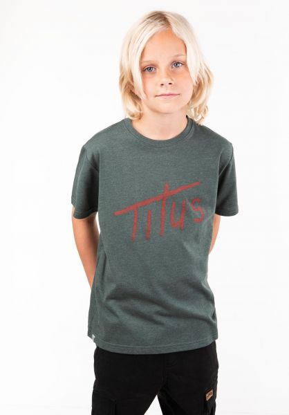 TITUS T-Shirts Brushed Letters Kids petrolmottled vorderansicht 0397392