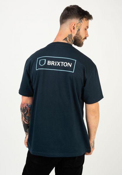 Brixton T-Shirts Alpha Block navy vorderansicht 0322483