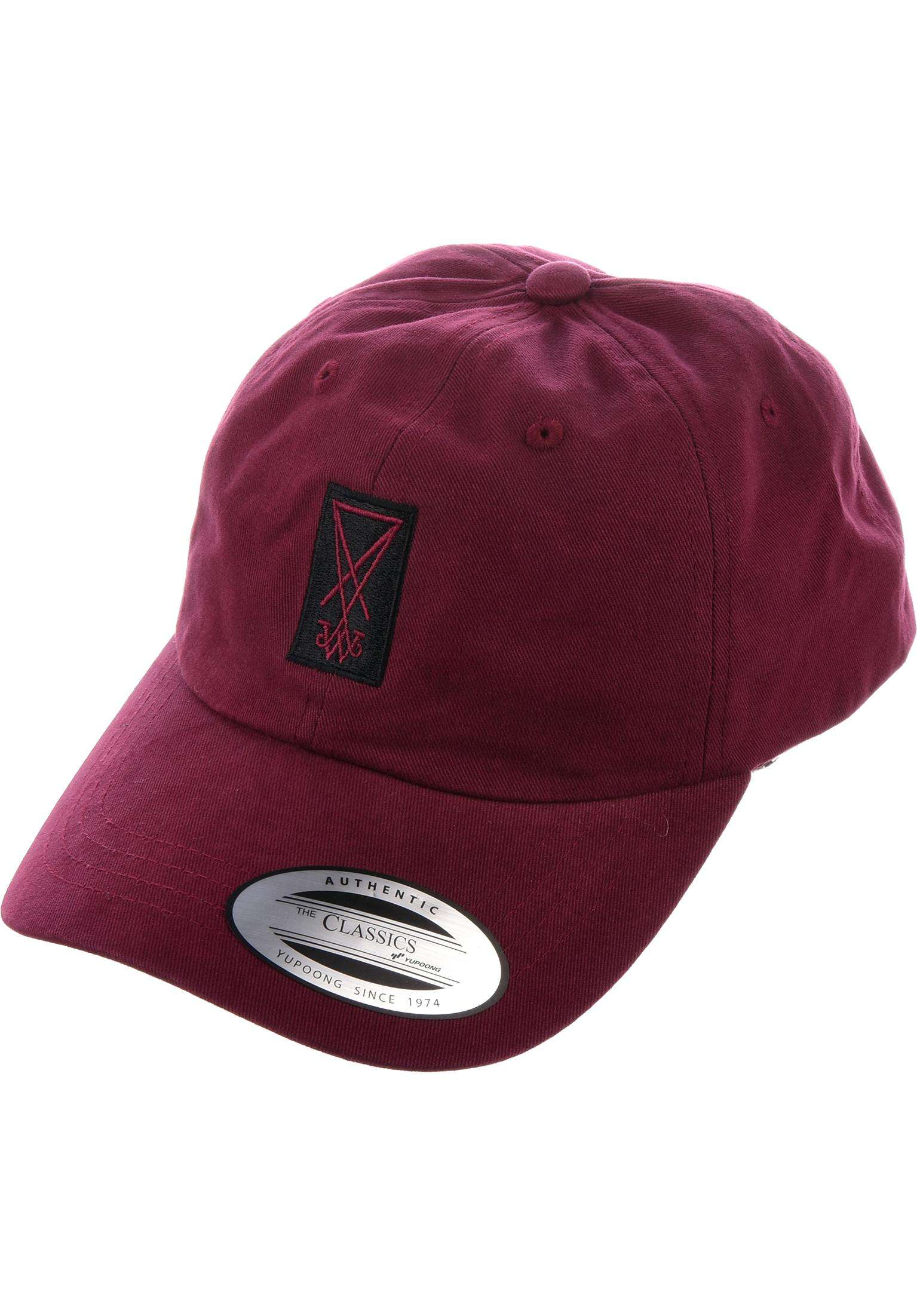 b782cf0d1257e Symbol Peached Twill Dad Hat Welcome Caps in maroon-black for Men ...