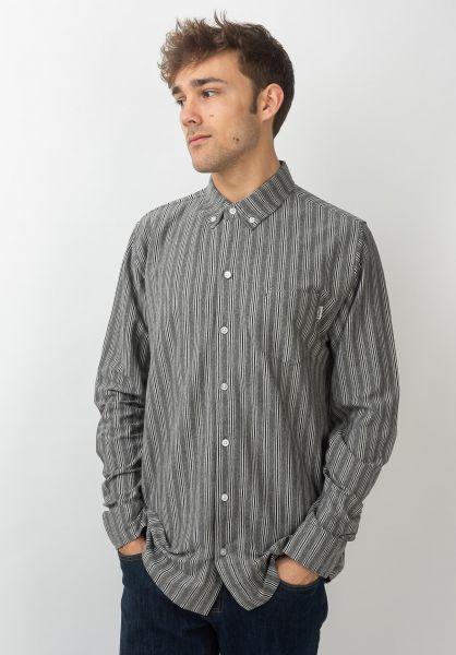 Wemoto Hemden langarm Shaw Stripe greymelange-offwhite vorderansicht 0411930