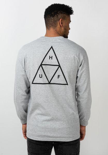 HUF Longsleeves Triple Triangle greyheather vorderansicht 0382746
