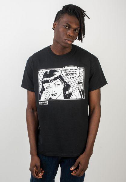 Thrasher T-Shirts Boyfriend black vorderansicht 0370005