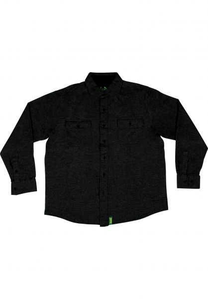 Creature Hemden langarm Angler Shirt black-heather Vorderansicht