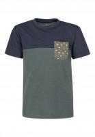 TITUS T-Shirts Haiti Pocket Kids petrolmottled-deepnavymottled Vorderansicht