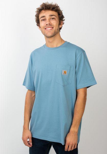 Carhartt WIP T-Shirts Pocket coldblue vorderansicht 0393365