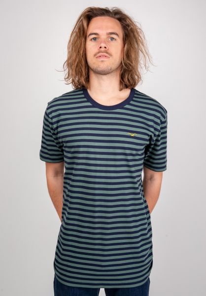 Cleptomanicx T-Shirts Classic Stripe bottlegreen vorderansicht 0394919