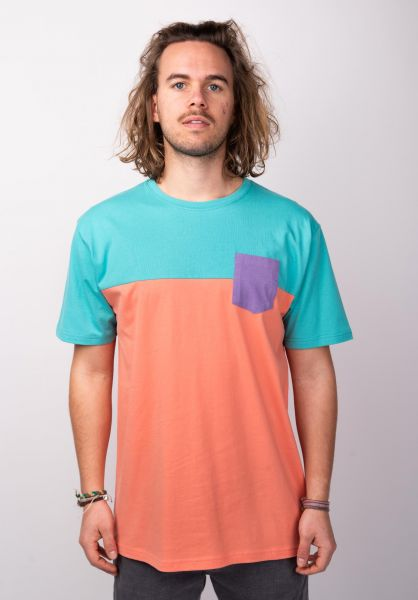 TITUS T-Shirts Colourblock Pocket peach-mintgreen vorderansicht 0398349