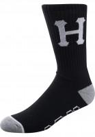 HUF-Socken-Classic-H-Crew-black-Vorderansicht