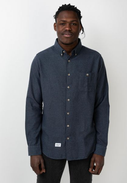 Reell Hemden langarm Brushed Shirt blue vorderansicht 0411719