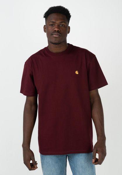 Carhartt WIP T-Shirts Chase bordeaux-gold vorderansicht 0396618