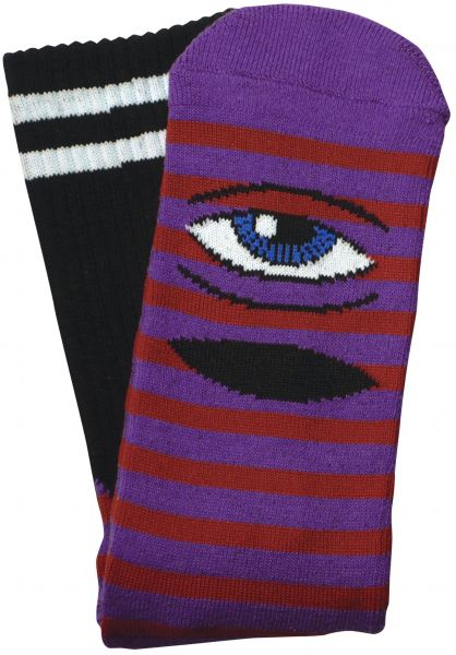 Toy-Machine Socken Sect Eye Stripe purple-red vorderansicht 0630409