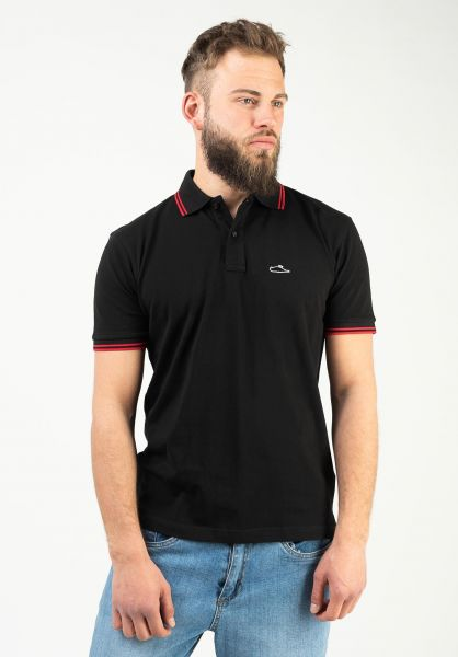 Atticus Polo-Shirts Classic Tipped black-red vorderansicht 0138418