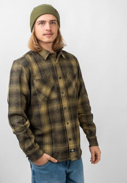 Dickies Hemden langarm Linville khaki vorderansicht 0411983