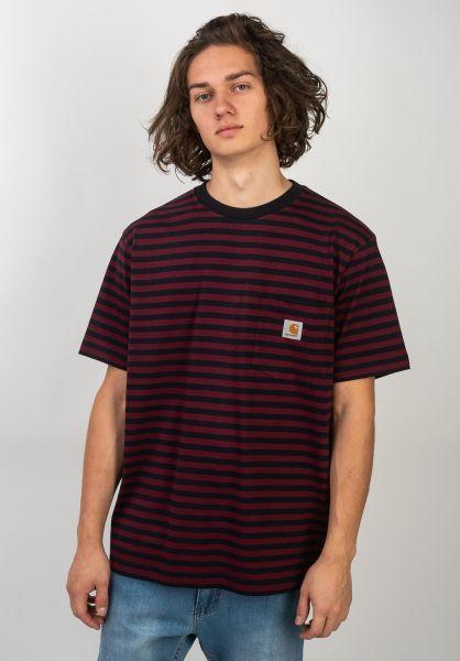 Carhartt WIP T-Shirts Haldon Pocket haldonstripe-darknavy-merlot vorderansicht 0320609