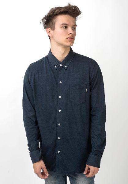 Wemoto Hemden langarm Shaw navyblue-melange vorderansicht 0411880