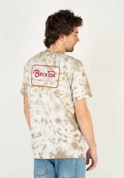 Brixton T-Shirts Grade beigetiedye vorderansicht 0399859