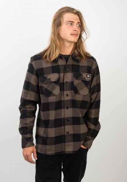 Dickies Hemden langarm Sacramento gravelgrey vorderansicht 0411126