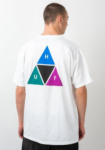 HUF T-Shirts Prism Triangle white vorderansicht 0399418