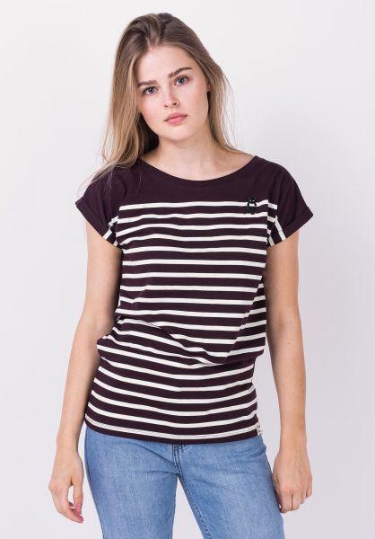 iriedaily T-Shirts Cat Stripe aubergine vorderansicht 0322270