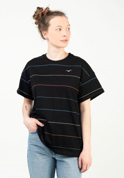 Cleptomanicx T-Shirts Multi Stripe Wmn black vorderansicht 0322803