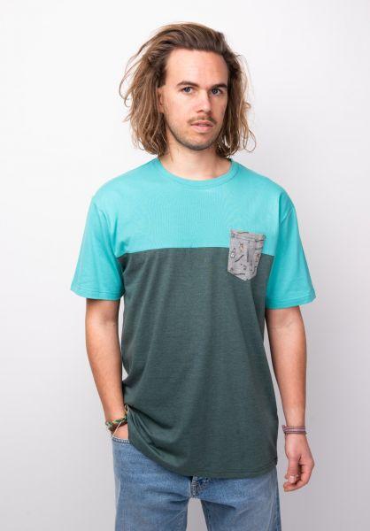 TITUS T-Shirts Drinks Pocket mintgreen-petrolmottled vorderansicht 0398351