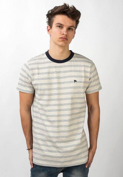 Wemoto T-Shirts Warren Stripe sandmelange-navyblue vorderansicht 0321397