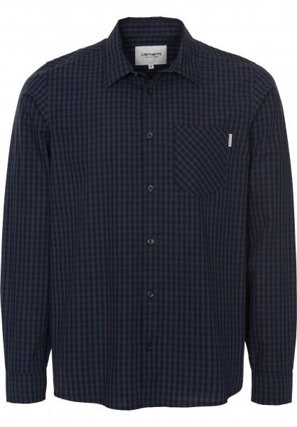 Carhartt WIP Hemden langarm Preston preston-check-black-blue Vorderansicht